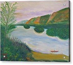 Red Kayak Acrylic Print by Troy Thomas