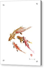 Red Koi Fish Fishes Orange Tangerine Caramel Brown Zodiac Pisces Watercolor Painting Acrylic Print by Johana Szmerdt