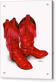 Red Leather Fringed Cowboy Boots Acrylic Print by Nan Wright