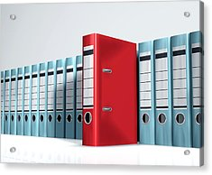 Red Lever Arch File In A Row Of Grey Files Acrylic Print by Artpartner-images