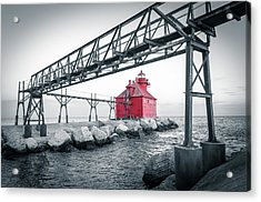 Red Light On Lake Michigan Acrylic Print by Mark David Zahn