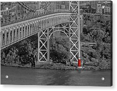 Red Lighthouse And Great Gray Bridge Bw Acrylic Print