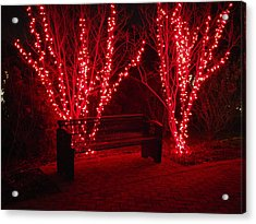 Red Lights And Bench Acrylic Print