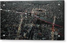 Red Line In The Dark Tokyo. Acrylic Print by Carmine Chiriaco'