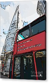 Red London Bus And The Shard - Pop Art Style Acrylic Print by Ian Monk
