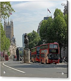 Red London Bus In Whitehall Acrylic Print