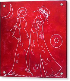 Red Love Acrylic Print by Hanna Fluk
