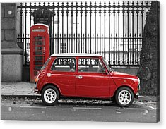 Red Mini Cooper In London Acrylic Print