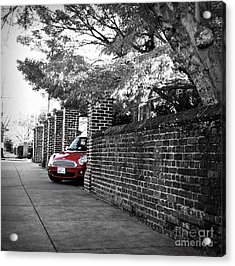 Acrylic Print featuring the photograph Red Mini Cooper- The Debut by Nancy Dole McGuigan