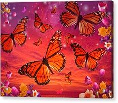 Red Monarch Sunrise Acrylic Print by Alixandra Mullins