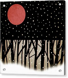 Red Moon And Snow Acrylic Print by Carol Leigh