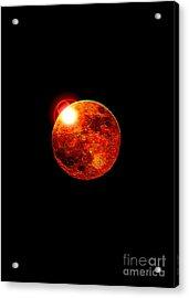 Red Moon Acrylic Print by David Turner