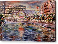 Red Moon Over Berlin Acrylic Print by Alfred Motzer