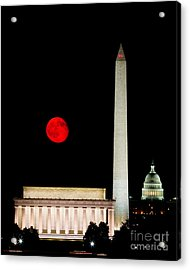 Red Moon Over Monuments Acrylic Print by Dale Nelson