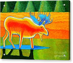 Acrylic Print featuring the painting Red Moose by Joseph J Stevens