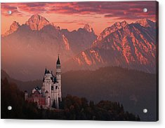 Red Morning Above The Castle Acrylic Print by Daniel ?e?icha