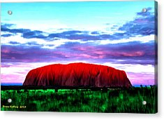 Acrylic Print featuring the painting Red Mountain Sunset by Bruce Nutting