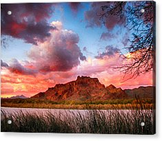 Red Mountain Sunset Acrylic Print