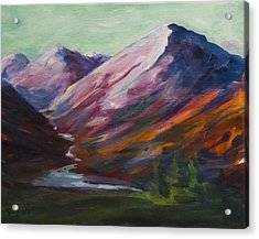 Acrylic Print featuring the painting Red Mountain Surreal Mountain Lanscape by Yulia Kazansky