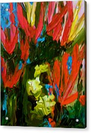 Acrylic Print featuring the painting Red N Blue by Ray Khalife