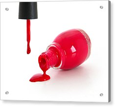 Red Nail Polish Acrylic Print by Suzi Nelson