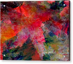 Acrylic Print featuring the painting Red Nature Abstract Autumn Leaf by John Fish