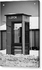 Red Norwegian Telenor Telefon Box Buried In The Snow Norway Europe Acrylic Print by Joe Fox