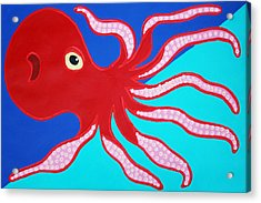 Red Octopus Acrylic Print