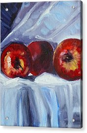 Red On White Acrylic Print by Nancy Merkle