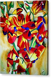 Red Orchids Acrylic Print by Sacha Grossel