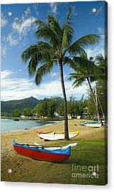 Red Outrigger Canoe In Kauai Acrylic Print by David Smith
