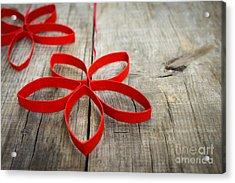 Red Paper Christmas Stars Acrylic Print by Aged Pixel