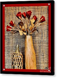 Red Paper Roses Still Life Acrylic Print