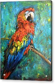 Acrylic Print featuring the painting Red Parot by Jieming Wang