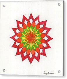 Red Passion Mandala Acrylic Print by Silvia Justo Fernandez