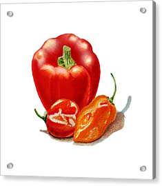 Red Pepper With Hot Peppers Acrylic Print
