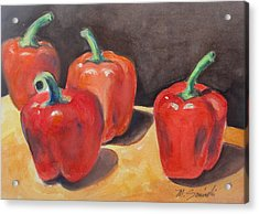 Red Peppers Acrylic Print by Melinda Saminski