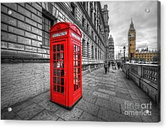 Red Phone Box And Big Ben Acrylic Print