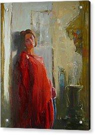 Red Poncho Acrylic Print by Irena  Jablonski