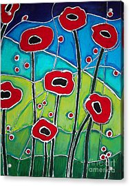 Red Poppies 1 Acrylic Print by Cynthia Snyder