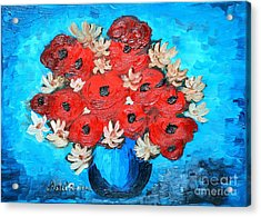 Red Poppies And White Daisies Acrylic Print by Ramona Matei