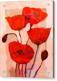 Red Poppies Art Acrylic Print by Lutz Baar
