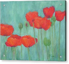 Red Poppies Colorful Poppy Flowers Original Art Floral Garden  Acrylic Print