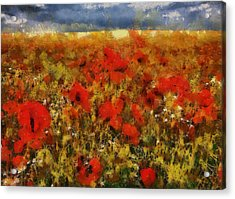 Acrylic Print featuring the painting Red Poppies by Georgi Dimitrov