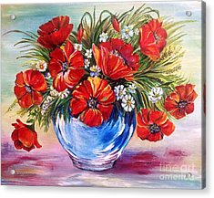 Red Poppies In Blue Vase Acrylic Print