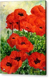 Red  Poppies In Shade Colorful Flowers Garden Art Acrylic Print