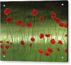 Red Poppies In The Woods Acrylic Print by Cecilia Brendel