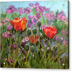 Red Poppies Acrylic Print by Julie Maas