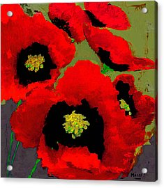 Red Poppies On Olive Acrylic Print