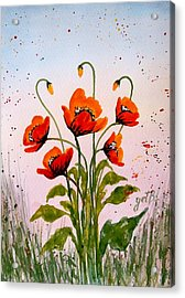Red Poppies Original Watercolor  Acrylic Print